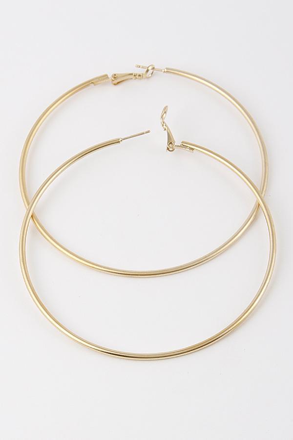30834 GOLD Hoop Cute Thin Earrings 9CBB2 - Hoop Earrings