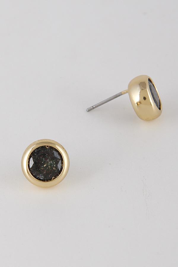 IE0236 GOLD BLACK Circle Hoop Earrings 8BAF6 Stud