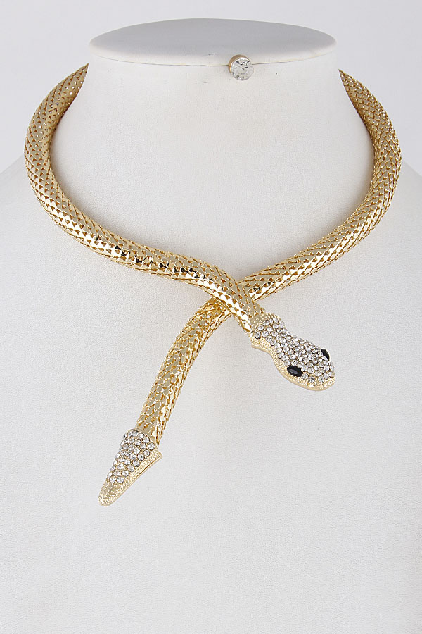 8b2c7e6a2c62f KS7119 GOLD CLEAR Snake Elegant Choker Necklace 8HCA2 - Weekly ...