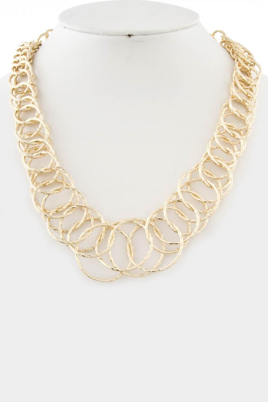 kyn1021 gold hoops chain necklace 3kbe11 jewelry