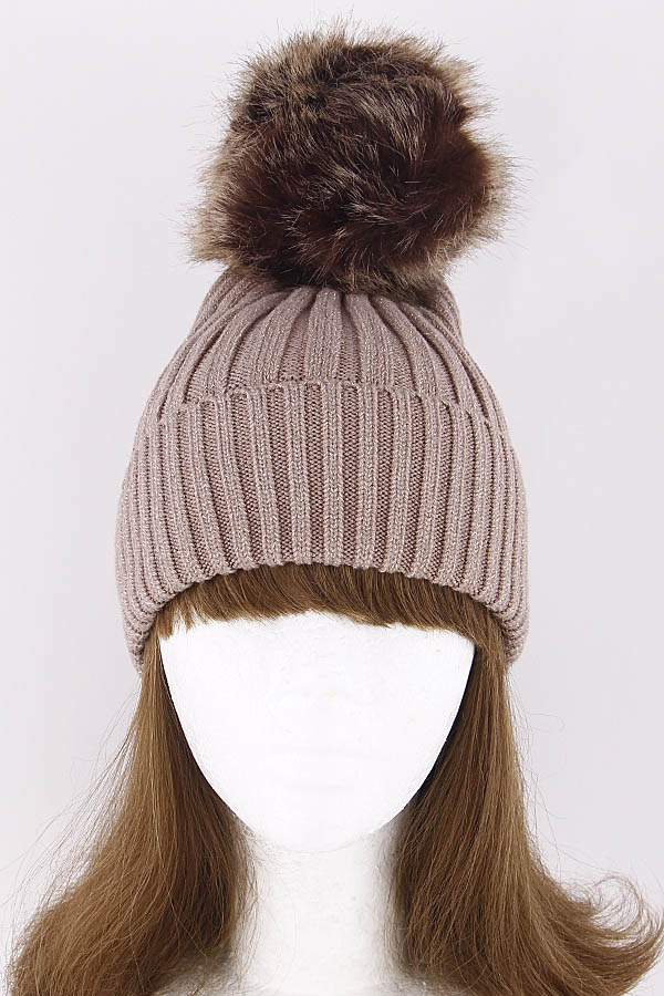 74b2fe281c67a LCH178 BROWN Winter Adjustable Beanie With Puff Ball 8KAD - Cap Beanie