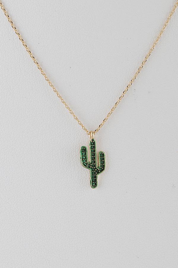 Chain necklace cactus pendant medallion