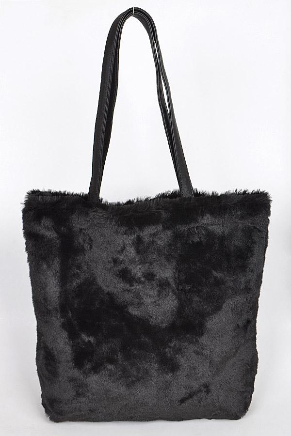 99ef0e75ad PP6593 Black Faux Fur Glamorous Bag - Fashion Bag