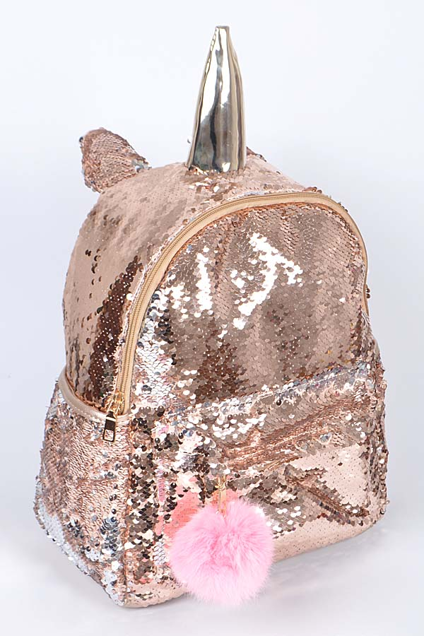 PP6759 GOLD Sequin Unicorn Backpack
