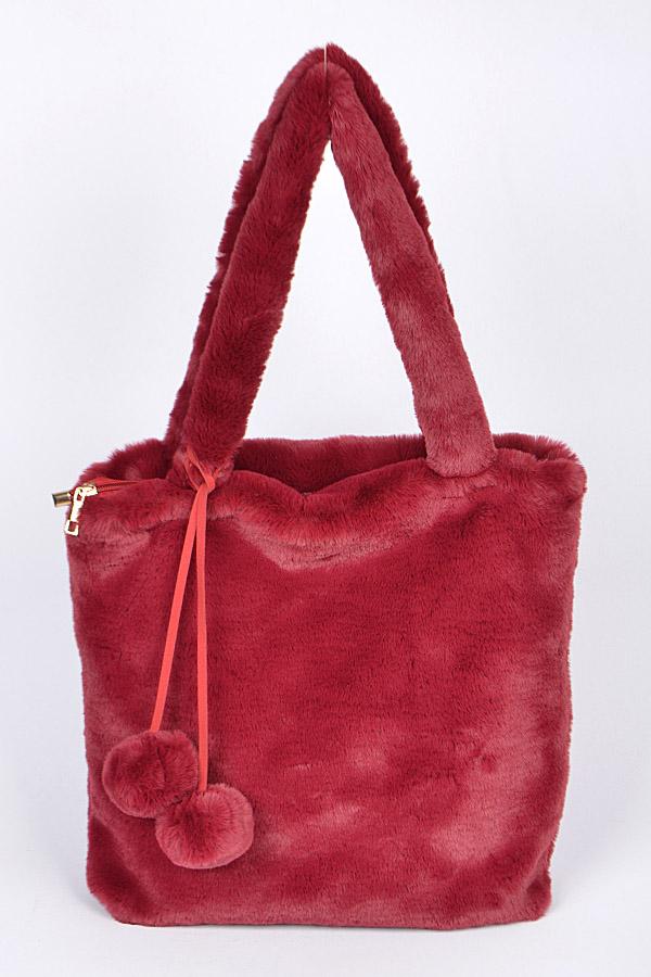 0931bd3a24 PP6805 BURGUNDY Faux Fur Day to Day Bag - Fashion Bag