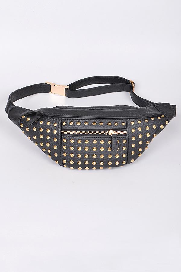 Ppc2500 Black Gold Studded Pack Waist Bag Newly