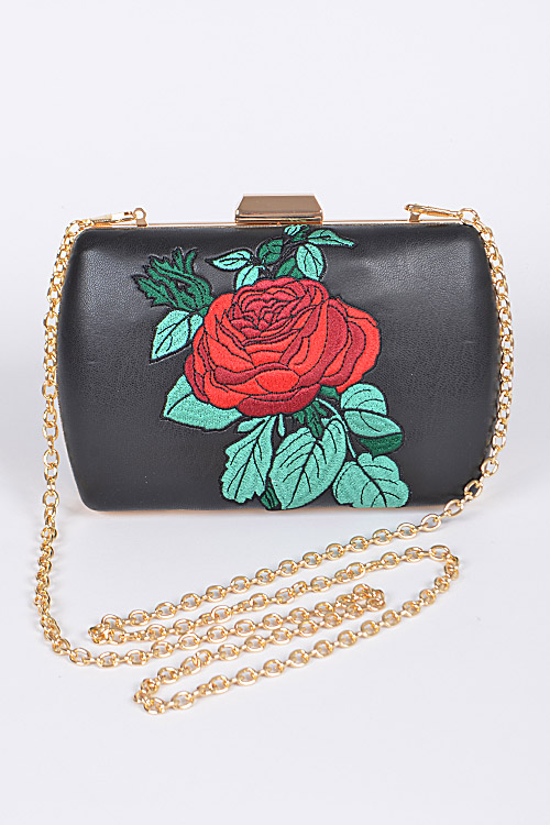 PPC5607 Beauty and The Beast Red Rose Inspired Trendy Clutch