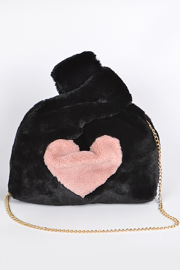 8ff9af7bf777 Faux Fur Clutch With Heart Detail. Home · Handbags · Clutch Wallet · Tap to  expand