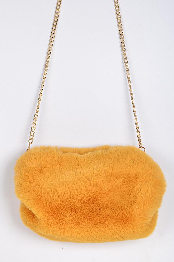 7f100b70edcf PPC6372 MUSTARD Faux Fur Clutch With Chain Details. - Clutch Wallet