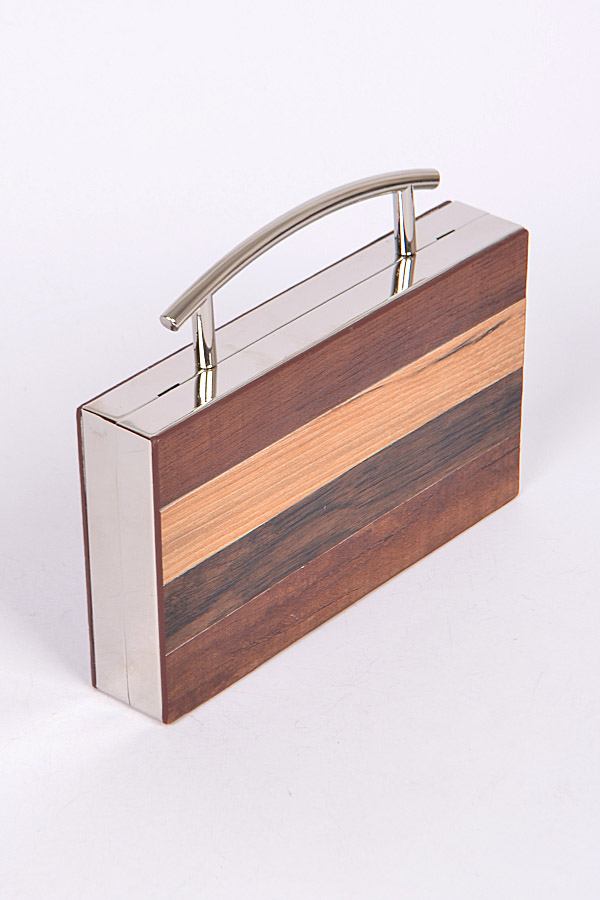 Ppc6746 Silver Wooden Frame Clutch Clutchwallet