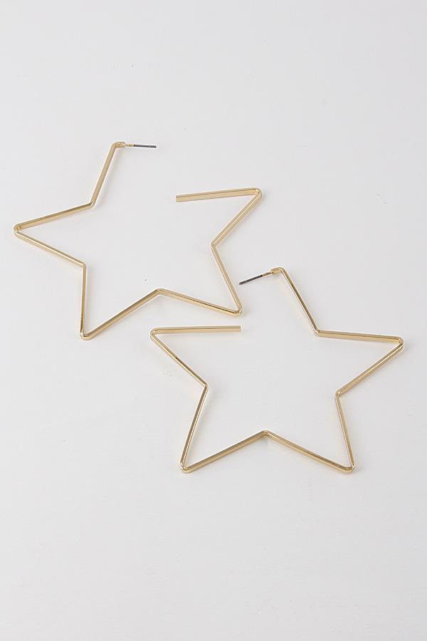 Ve2376 Gold Star Hoop Earrings 9eac4 Weekly Accessories