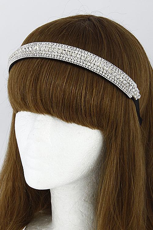 H1035 SILVER CLEAR Simple Thick Bar Rhinestone Head Band 6DCG - Hair ... 5ccc6cc5211