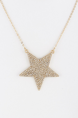 Rhinestone Star Pendant Necklace 9BCD3