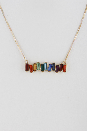Small Linked Colorful Stones Necklace 9BCD3