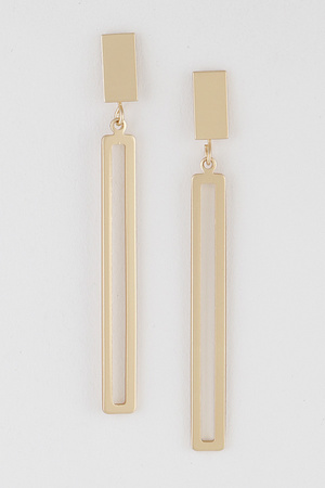 Open Cut Rectangle Bar Earring