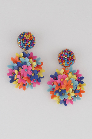 Round Beaded Flower Drop Earring.