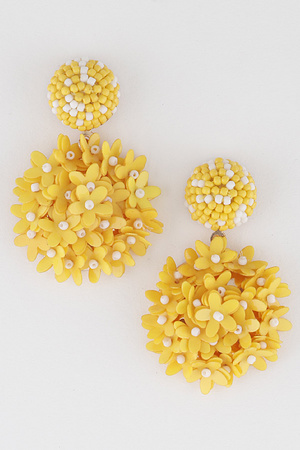 Round Beaded Flower Drop Earring