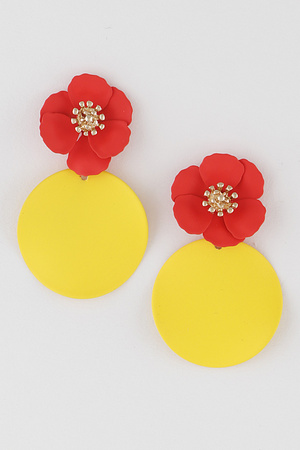 Flower With Round Drop  Earring