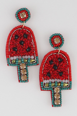 Beaded Water Melon Ice Bar Drop Earring