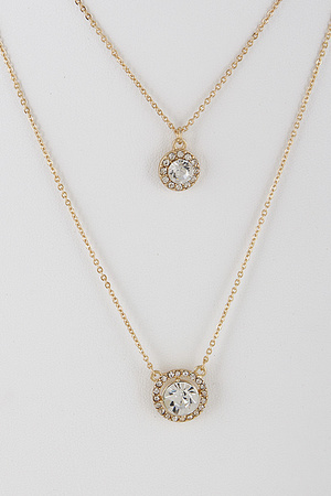 Dual Rhinestone Layered Necklace  8BBD3
