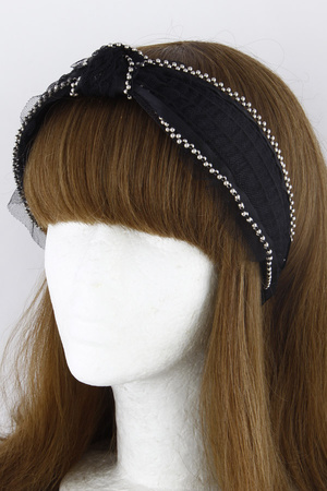 Knotted Net Head Band With Pearls 9JAB
