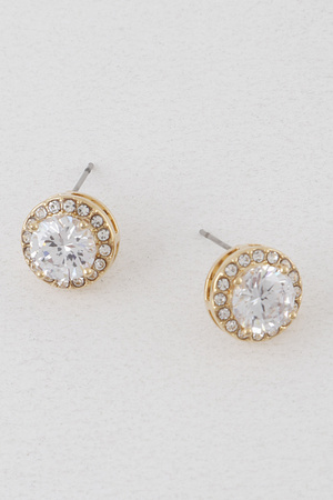 Rounded Rhinestone Earrings