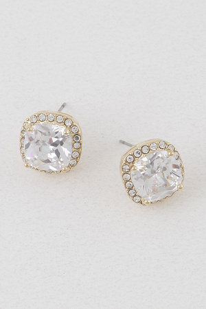 Rounded Square Rhinestone Earrings