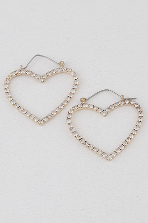 Heart Rhinestone Hoop Earrings