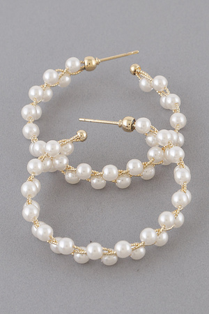Upside Down Pearl Beads Hoop Earring