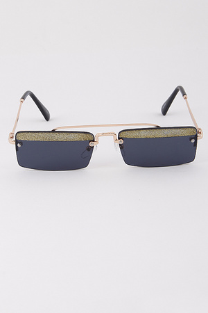 Rectangle Sunglasses With Glitter Line