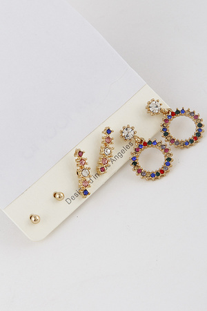 Multi Color Earrings Set 9JAB8