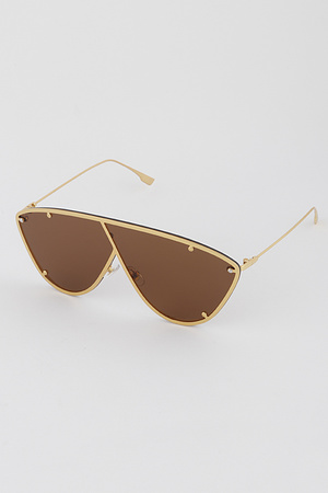 Hipster Exposed Frame Shield Sunglasses