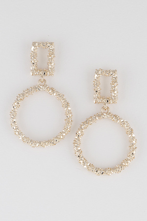 Glittered Open Cut Round Drop  Earring