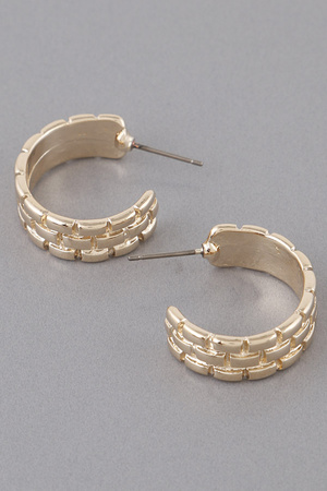 Vertical Pattern Hoop Earrings