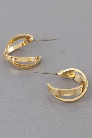 Cross Bend Hoop Earrings