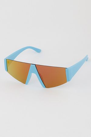 Side Frame Shield Sunglasses with Colored Lens