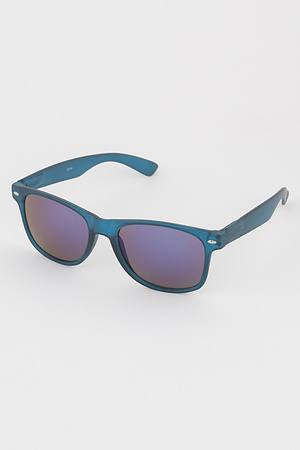 Mirrored Lens Rectangular Sunglasses
