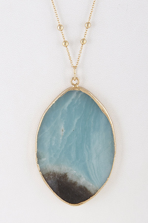 Marmol Oval Stone Long Necklace 8BBD6