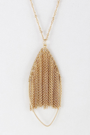 Teardrop Chain Fringed Necklace 8BBD7