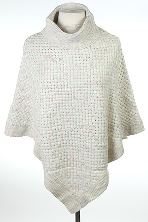 Turtle Neck Knitted Poncho 4KAF