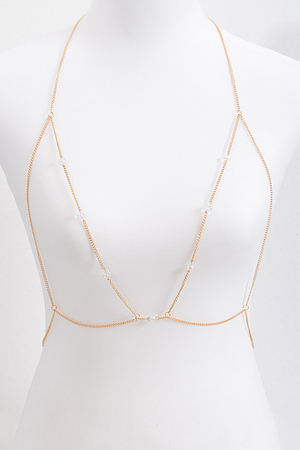 Thin Body Chain With Faux Pearl