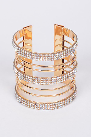 3 Solid Thick Lines Rhinestones Open Arm Bracelet