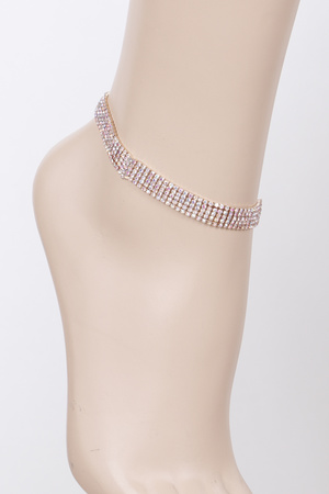 Layered Rhinestone Daily Anklet