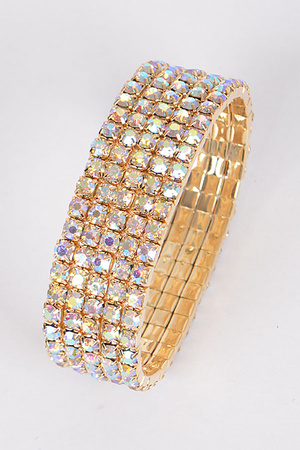 Elegant Five Lines Rhinestones Adjustable Bracelet