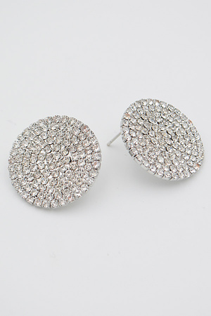 Circle Shape Formal Rhinestone Earrings.