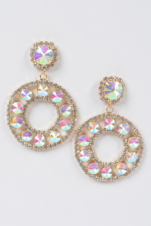 Round Stone Dangling Earring