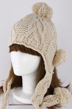 Twisted Knit Fur Ball Attached Beanie