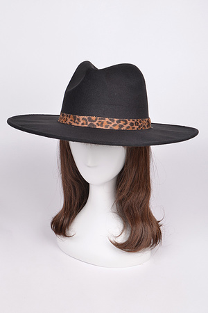 Monotone Fedora With Leopard Detail.
