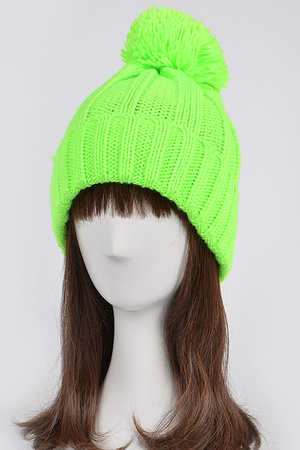 Neon Colored Beanie With Puff Ball