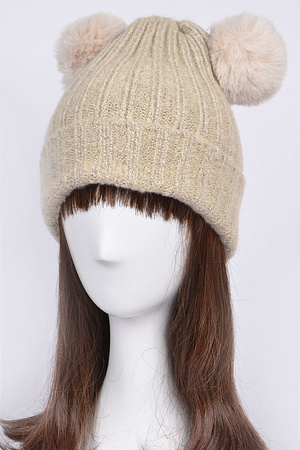 Knit Beanie With Two Puff Balls